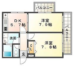 コンフォート武庫川[2階]の間取り