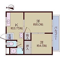 田畑マンションB棟[6号室]の間取り