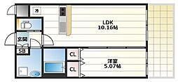 プレジオ城東中央 3階1DKの間取り