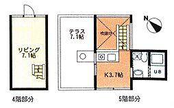 スペースブロック上新庄 4階1Kの間取り