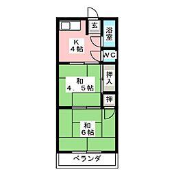 三ツ輪荘[2階]の間取り