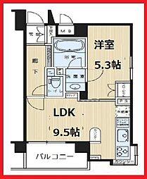 ラヴェンナ文京富坂 5階1LDKの間取り