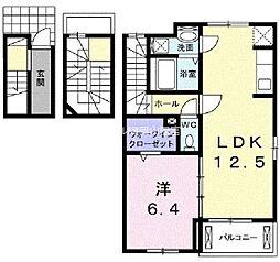 岡山県岡山市中区平井丁目なしの賃貸アパートの間取り