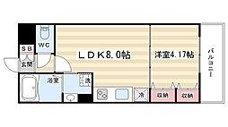 リバーサイド桂 弐番館 3階1LDKの間取り
