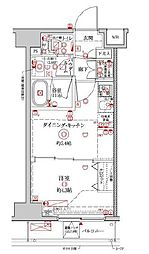 都営新宿線 浜町駅 徒歩13分の賃貸マンション 4階1DKの間取り