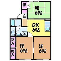 愛媛県松山市東石井3丁目の賃貸アパートの間取り