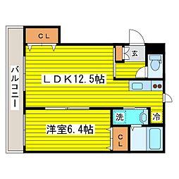 北海道札幌市東区北二十二条東12丁目の賃貸マンションの間取り
