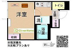 東京都町田市三輪町の賃貸アパートの間取り