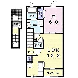 JR久大本線 筑後吉井駅 徒歩20分の賃貸アパート 2階1LDKの間取り