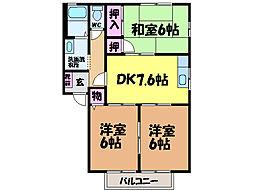 愛媛県伊予郡砥部町北川毛の賃貸アパートの間取り