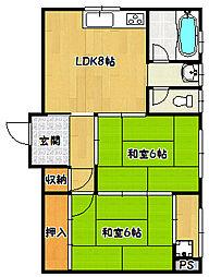 兵庫県神戸市長田区四番町3丁目の賃貸マンションの間取り