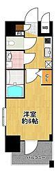 エスリード大阪ドームシティ 8階1Kの間取り
