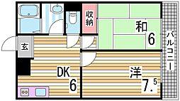 プリベイル西神戸 3階2DKの間取り