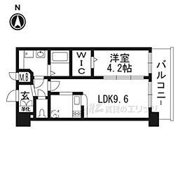 京都市営烏丸線 十条駅 徒歩5分の賃貸マンション 6階1DKの間取り