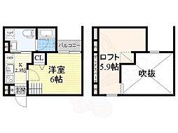 阪堺電気軌道阪堺線 寺地町駅 徒歩9分の賃貸アパート 2階1Kの間取り