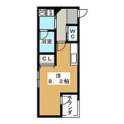 彩館 2階ワンルームの間取り