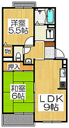大阪府堺市北区中長尾町4丁の賃貸アパートの間取り