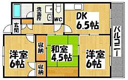 大阪府和泉市伯太町2丁目の賃貸マンションの間取り