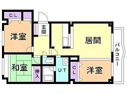 エスティ三番舘 1号館 3階3LDKの間取り