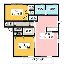 グランレコルト B棟[1階]の間取り