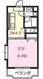 ドエル 2階1DKの間取り