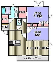 グランシード鶴原[1階]の間取り