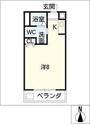 朝岡シティマンション 1階ワンルームの間取り