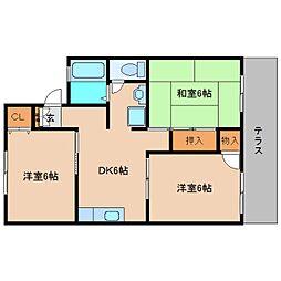 奈良県大和高田市市場の賃貸アパートの間取り