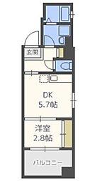 グランフォーレ箱崎ステーションプラザ 2階1DKの間取り