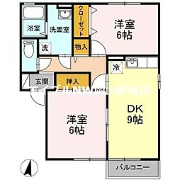 リバーパーク A棟[2階]の間取り