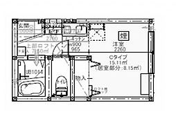 プライムテラス小田急相模原IB棟 1階ワンルームの間取り