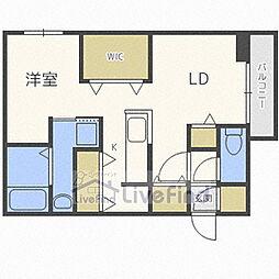 札幌市営東豊線 福住駅 徒歩8分の賃貸マンション 1階1LDKの間取り
