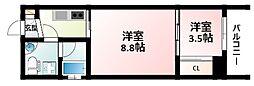 Osaka Metro御堂筋線 江坂駅 徒歩4分の賃貸マンション 9階2Kの間取り