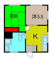 第1クイーンコーポ[4階]の間取り