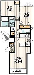 小田急小田原線 代々木上原駅 徒歩4分の賃貸アパート 1階2LDKの間取り