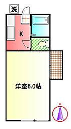 神奈川県秦野市南矢名4丁目の賃貸アパートの間取り