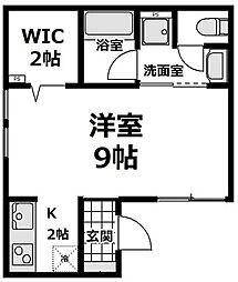東急田園都市線 たまプラーザ駅 徒歩6分の賃貸アパート 1階1Kの間取り