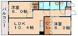福岡県飯塚市目尾の賃貸アパートの間取り