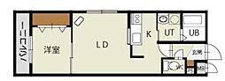 札幌市営南北線 中島公園駅 徒歩17分の賃貸マンション 2階1LDKの間取り