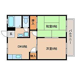静岡県静岡市葵区瀬名川3丁目の賃貸アパートの間取り