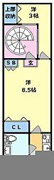 東急東横線 自由が丘駅 徒歩8分の賃貸マンション 地下1階2Kの間取り
