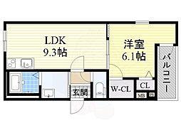 フジパレス堺梅北2番館 1階1LDKの間取り