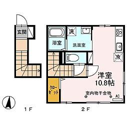 JR篠ノ井線 松本駅 徒歩7分の賃貸アパート 2階ワンルームの間取り