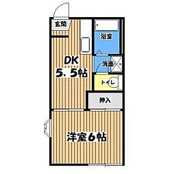東京都八王子市絹ケ丘3丁目の賃貸アパートの間取り