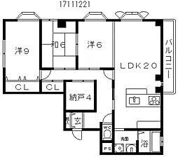 ソレイユ長居[4階]の間取り