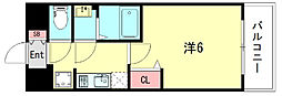 エステムコート神戸グランスタイル 14階1Kの間取り