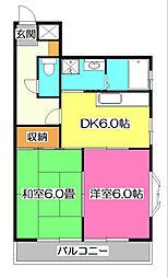 ラ・メゾン東所沢[2階]の間取り