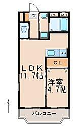 JR紀勢本線 紀和駅 徒歩8分の賃貸マンション 3階1LDKの間取り