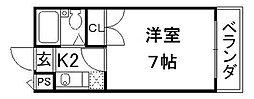 京都府京都市伏見区竹田浄菩提院町の賃貸マンションの間取り