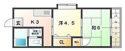 西川ハイツ[2階]の間取り